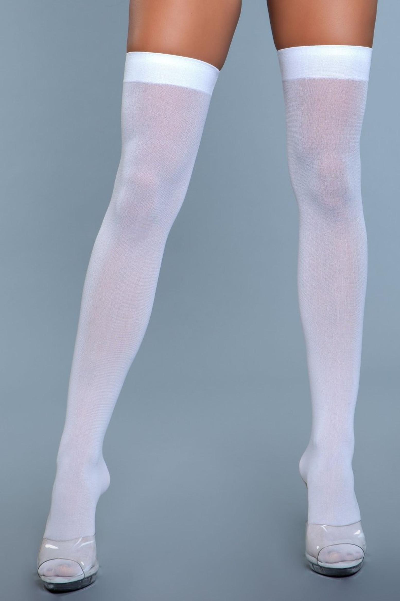 1932 Opaque Nylon Thigh Highs White