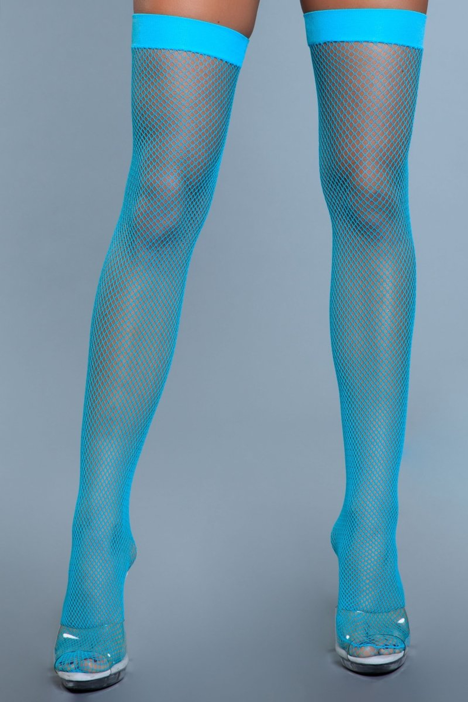1931 Nylon Fishnet Thigh Highs Turquoise