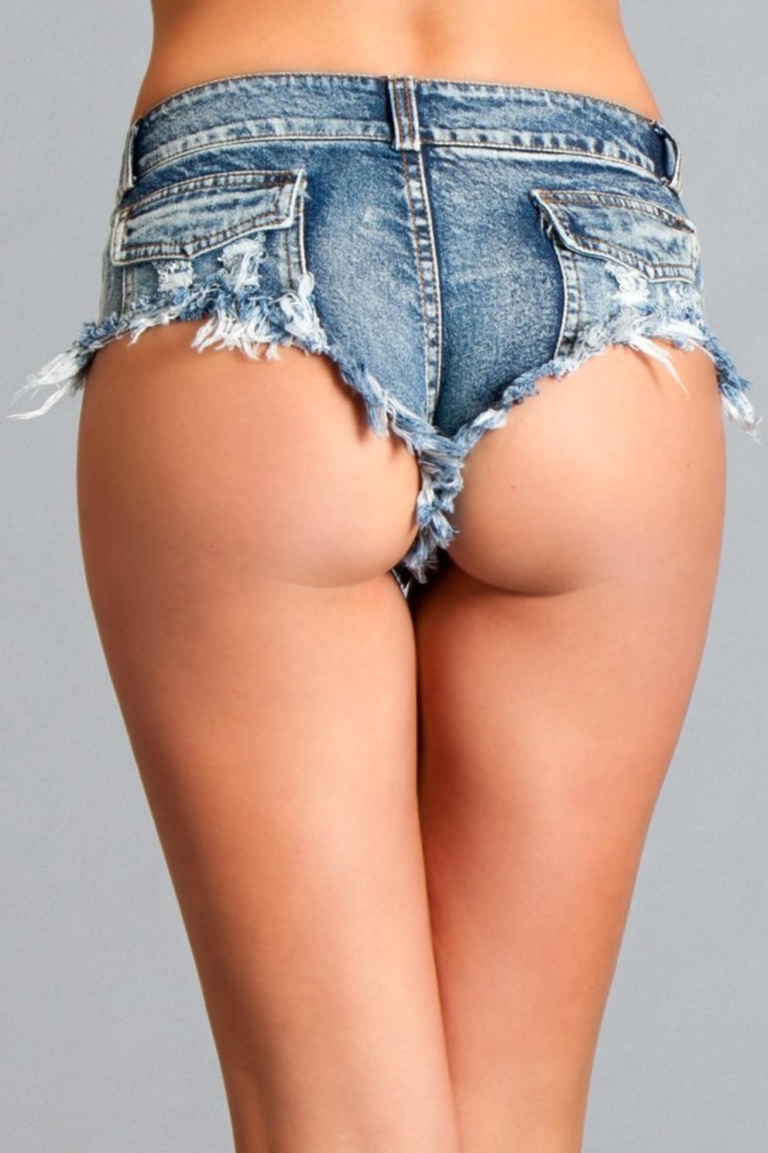 BWJ1BL Back Up Booty Shorts - Medium Wash