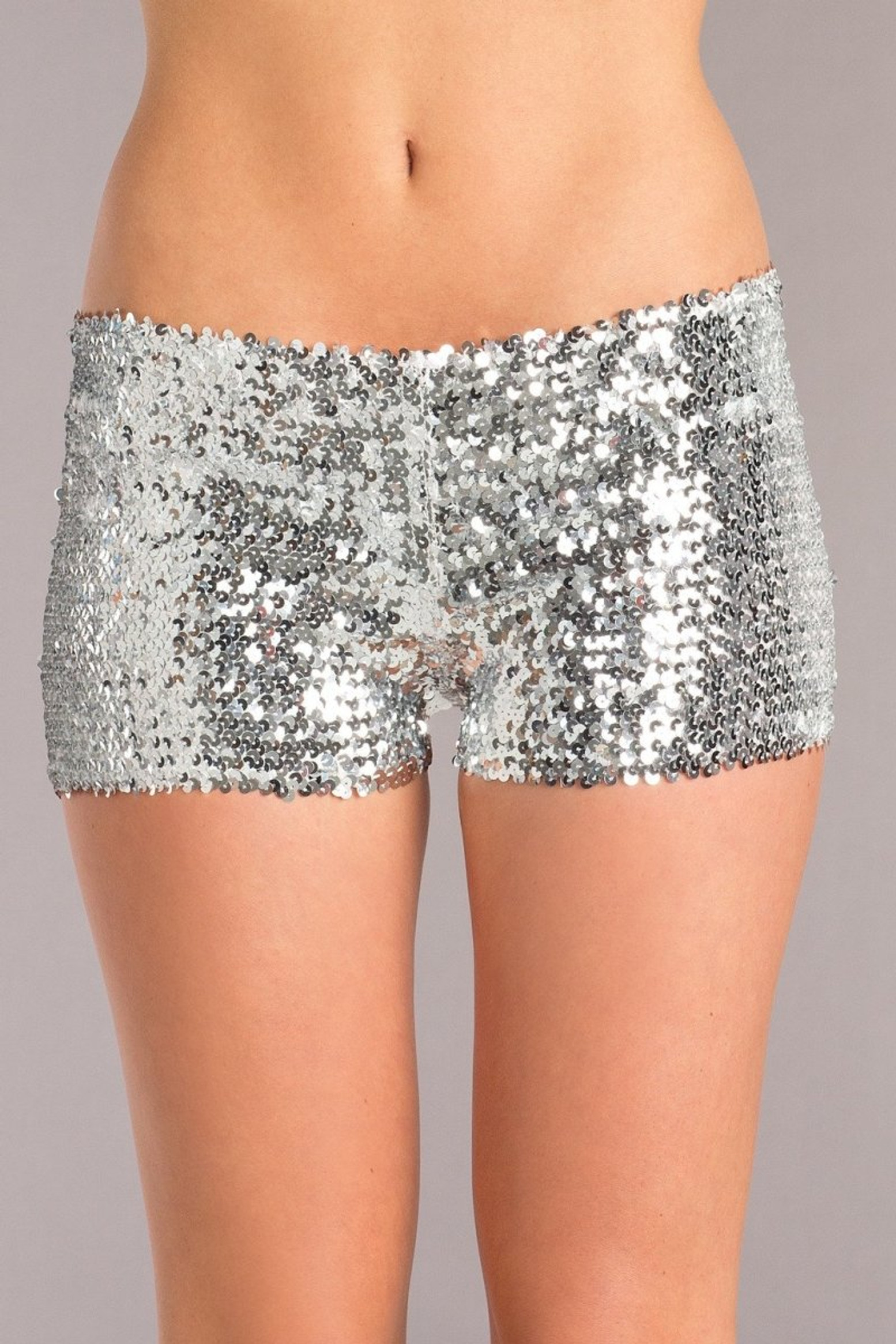 BW1676SL Sequin Booty Shorts - Silver