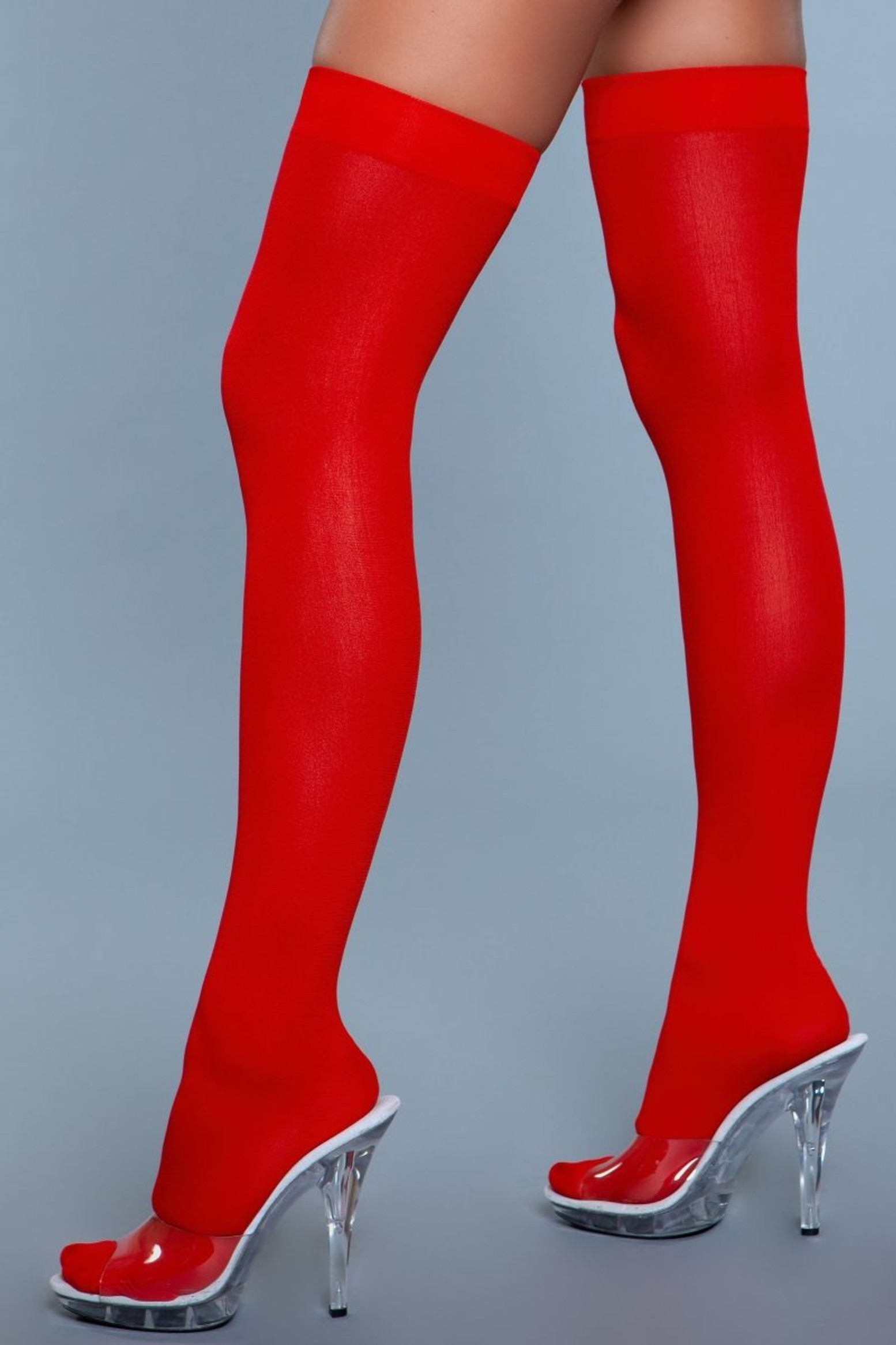 1932 Opaque Nylon Thigh Highs Red