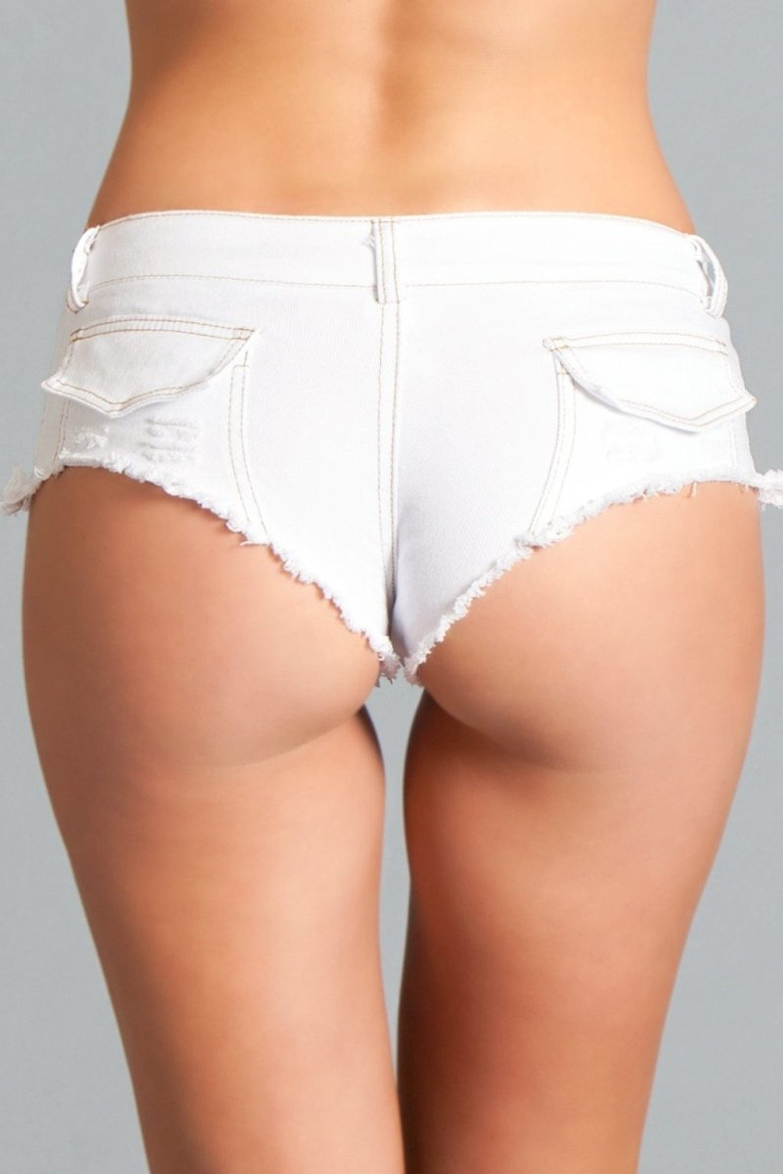 BWJ3WT Baby Got Back Booty Shorts - White