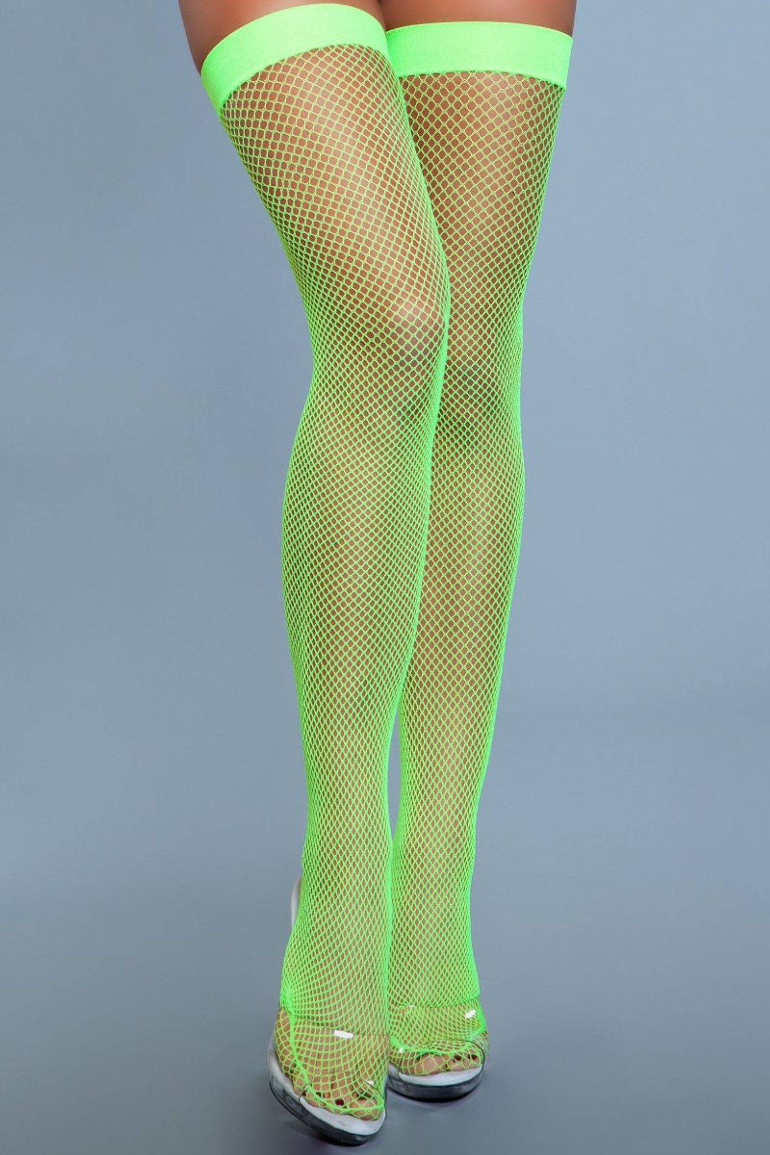 1931 Nylon Fishnet Thigh Highs Neon Green