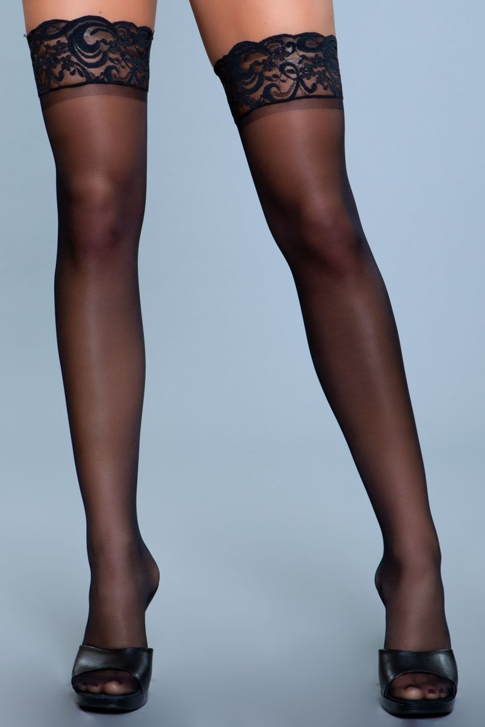 1919 Lace Over It Thigh Highs Black