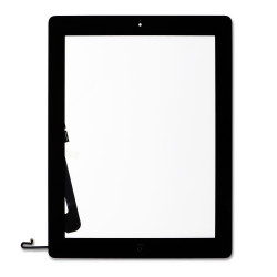 Full Assembly Glass and Digitizer with Home Button and Adhesive, Black, for iPad 4