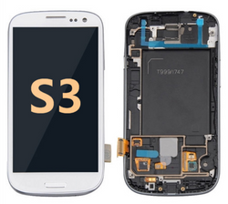 Back and front with Frame for Samsung Galaxy S3 LCD White