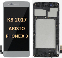Lcd for LG K8 2017 (Aristo MS210)  with frame Silver