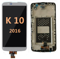Lcd for LG K10 2016 with frame  Silver
