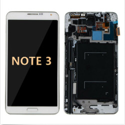 Back and white with Frame for Samsung Galaxy Note 3 LCD White