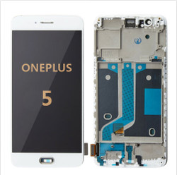 Back and Front with frame for OnePlus 5 LCD white
