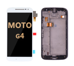 LCD and Digitizer Assembly with Frame  for Moto G4 (1625) WHITE
