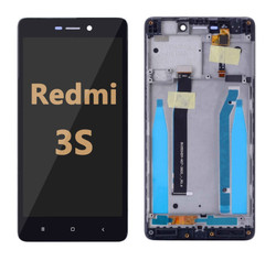 Back and front LCD and Digitizer Assembly with Frame for Redmi 3S  black