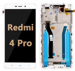 Back and front LCD and Digitizer Assembly with frame for Redmi 4 pro white