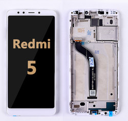 Back and front LCD and Digitizer Assembly  whit Frame for Redmi 5  White