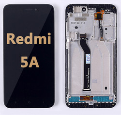 Back and front LCD and Digitizer Assembly with Frame for Redmi 5A black