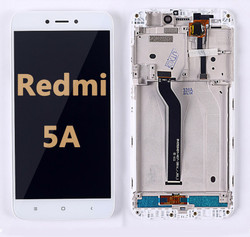 Back and front LCD and Digitizer Assembly with Frame for Redmi 5A white