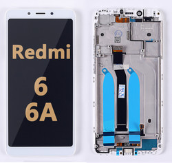 Back and front LCD and Digitizer Assembly with Frame for Redmi 6/6A white