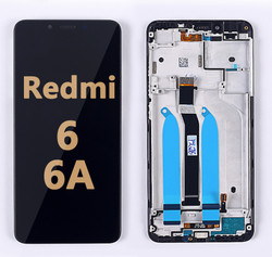 Back and front LCD and Digitizer Assembly with Frame for Redmi 6/6A Black
