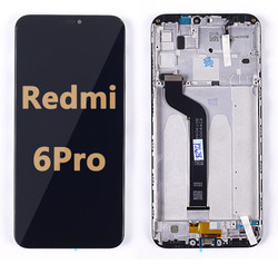 Back and front LCD and Digitizer Assembly  with Frame for Redmi 6 Pro Black