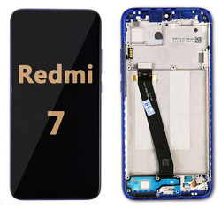 Back and front LCD and Digitizer Assembly  with Frame  for Redmi 7 Blue