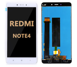 Back and front LCD and Digitizer Assembly  with Frame for Redmi Note 4 white