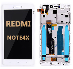 Back and front LCD and Digitizer Assembly  with Frame for Redmi Note 4X White