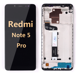 Back and front LCD and Digitizer Assembly with frame for redmi note 5 pro black