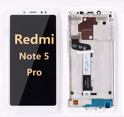 Back and front LCD and Digitizer Assembly with frame for redmi note 5 pro white