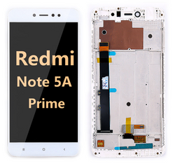 Back and front LCD and Digitizer Assembly with frame for redmi note 5A Prime white