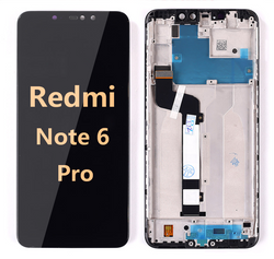 Back and front LCD and Digitizer Assembly with Frame for redmi Note 6 Pro Black