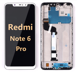 Back and front LCD and Digitizer Assembly with Frame for redmi Note 6 Pro white