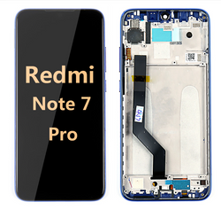back and front LCD and Digitizer Assembly with Frame for Redmi note 7 Pro Blue