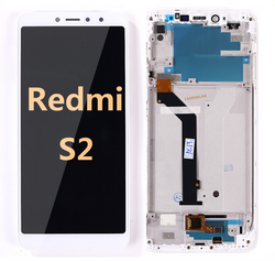 Back and front LCD and Digitizer Assembly with Frame for Redmi S2  White