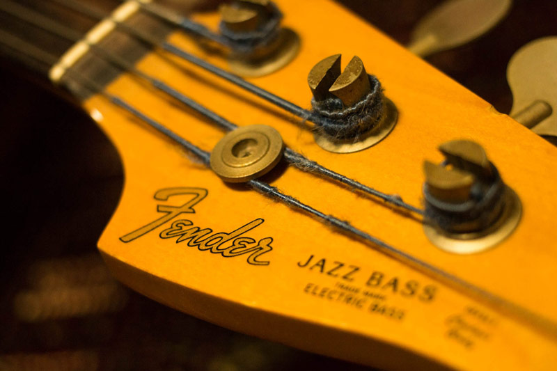 Fender bass up close