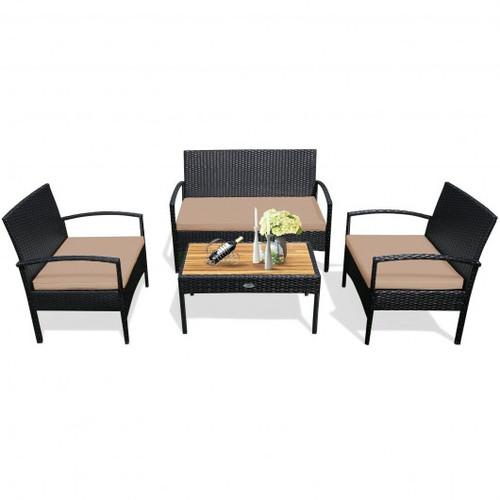 4 Pcs Patio Rattan Furniture