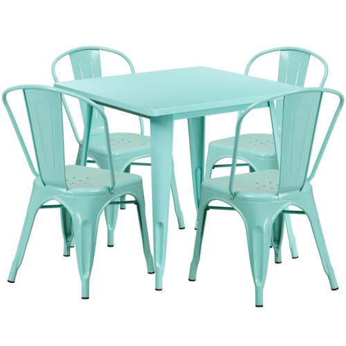 "31.5"" Square Metal Indoor-outdoor Table"