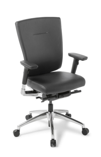 Cloud Ergo chair fabric seat All Black Leather with arms