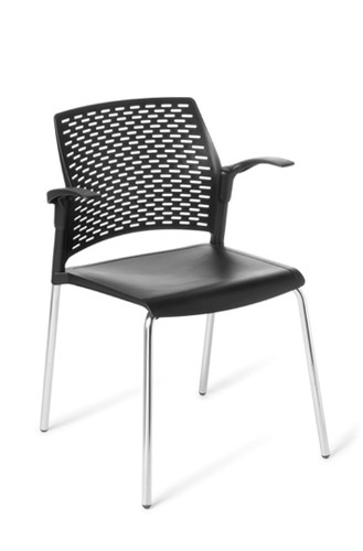 Visitor chair Punch half arms 4 leg Upholstered seat