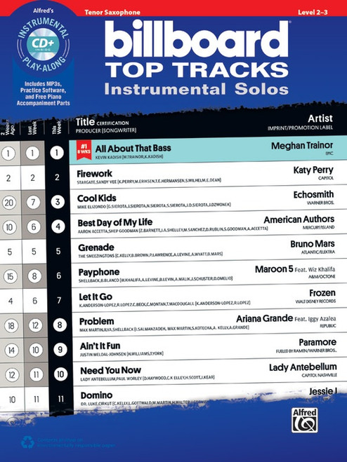 Alfred's Instrumental Play-Along - Billboard Top Tracks Instrumental Solos, Level 2-3 for Tenor Sax (Book/CD Set)
