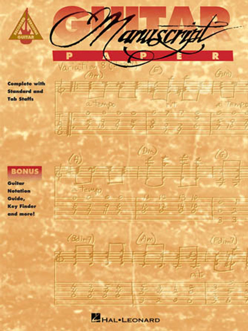Guitar Manuscript Paper (Recorded Guitar Versions) Complete with Standard and Tab Staff