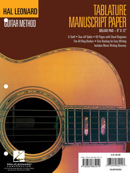 Hal Leonard Guitar Method Tablature Manuscript Paper Deluxe Pad ( 9 x 12 )