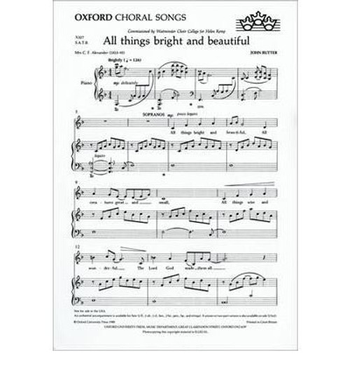 All Things Bright and Beautiful - arr. John Rutter - Two-Part Choir and Piano