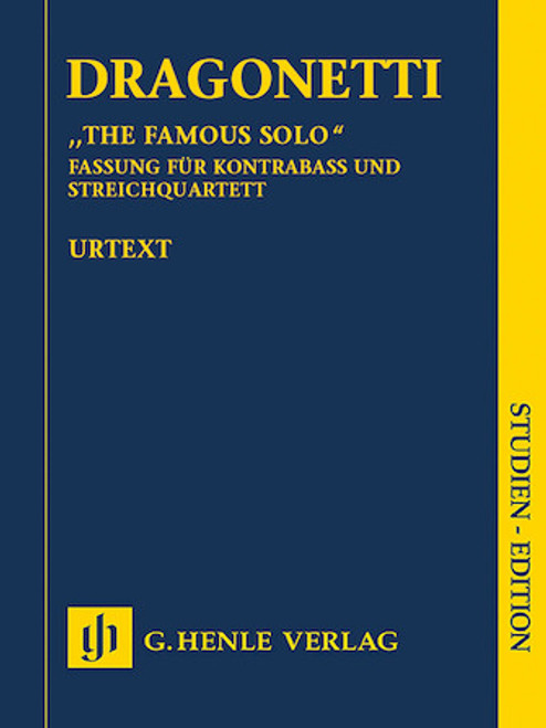 "Study Score: Dragonetti - ""The Famous Solo"" for Double Bass and Orchestra"