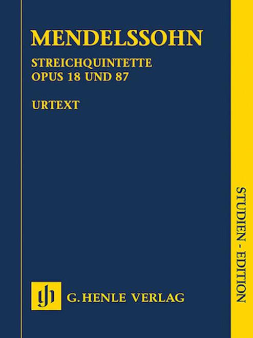 Study Score: Mendelssohn - String Quintets, Op. 18 and 87