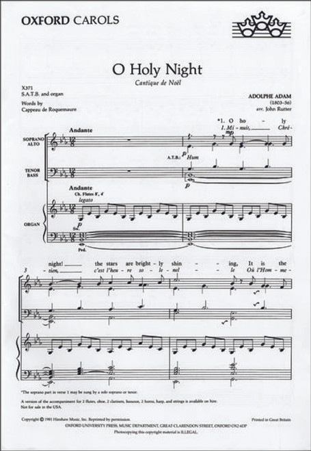 O Holy Night - arr. Rutter - SATB