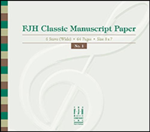 FJH Classic Manuscript Paper (6 Stave Wide / 64 Pages / Size 8 x 7)
