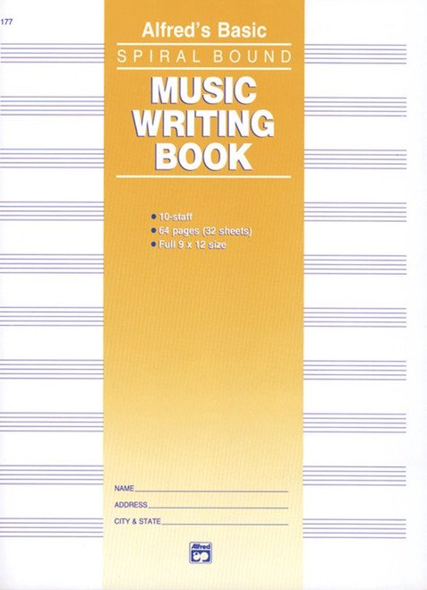 Alfred's Basic Spiral Binding Music Writing Book (10 Staff / 64 Pages)