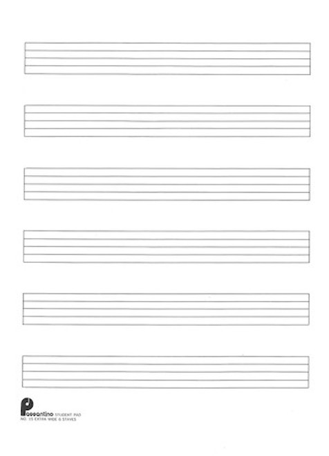 Passantino Manuscript Paper No. 15 - 6 Stave Extra Wide