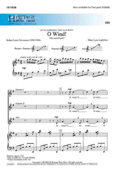 O Wind! - arr. Lightfoot - SSA