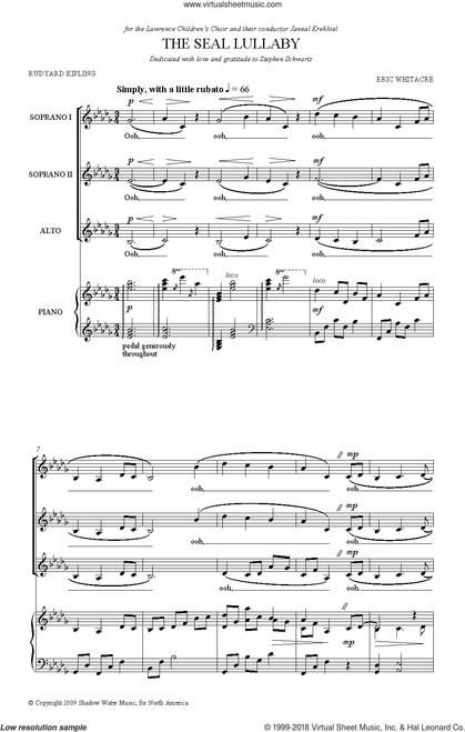 The Seal Lullaby - arr. Whitacre - SSA